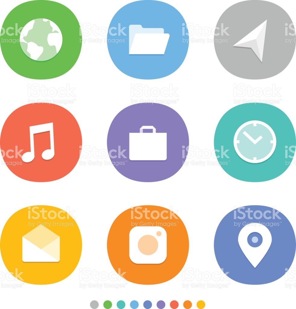 Modern Smartphone Icons Set Different Color Web Icons Social Media.