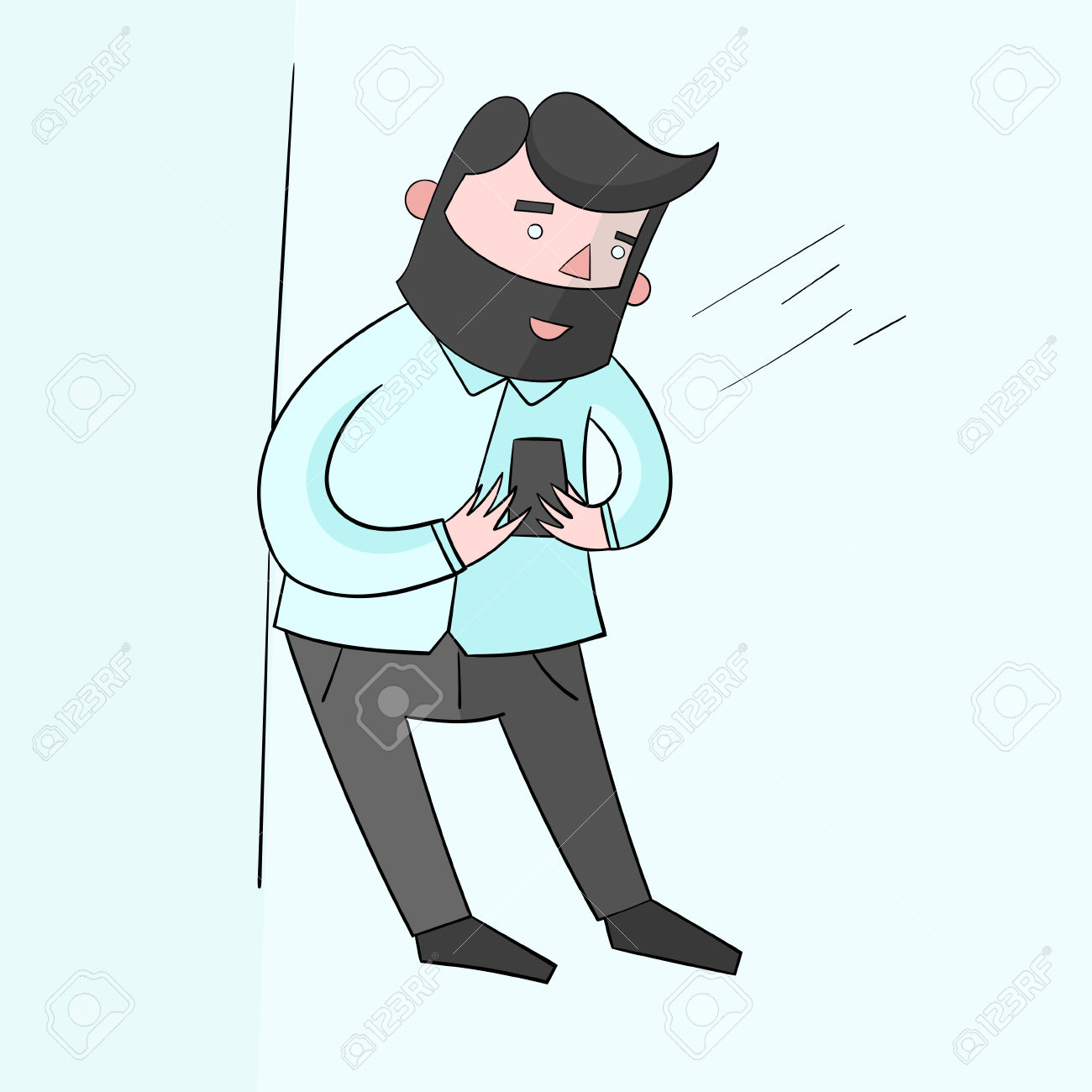Businessman Hipster Man With Smartphone Color Cartoon Doodle.
