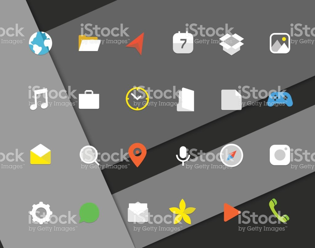 Modern Smartphone Color Icons Set Different Web Icons Modern.