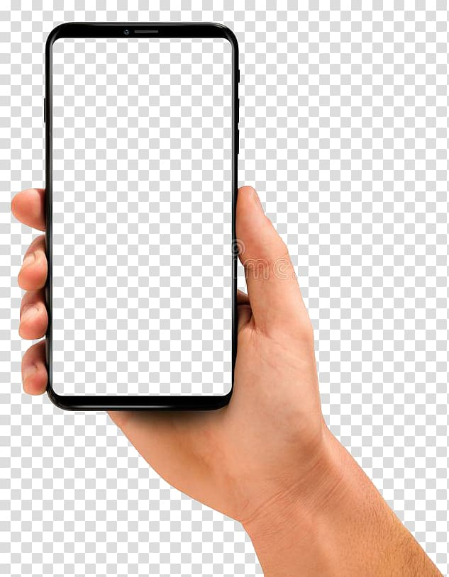 Person holding smartphone, White Smartphone Frames.