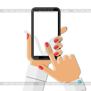 Woman`s hand holding smartphone.