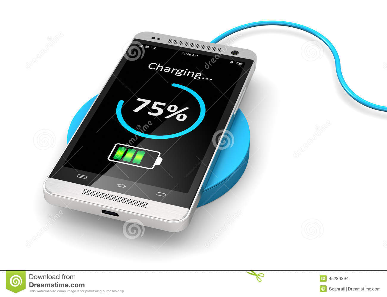 Wireless Charging Of Smartphone Stock Illustration.