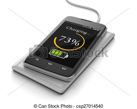 Drawing of Wireless charging of smartphone.