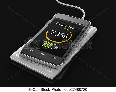 Clip Art of Wireless charging of smartphone.