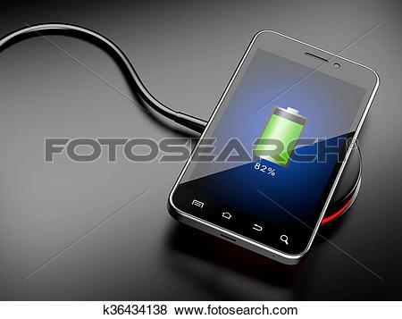 Stock Illustration of Wireless charging of smartphone. k36434138.