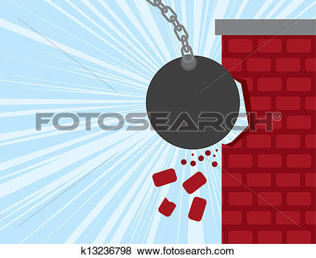 Clip Art of Wrecking Ball Smashes Building k13236798.