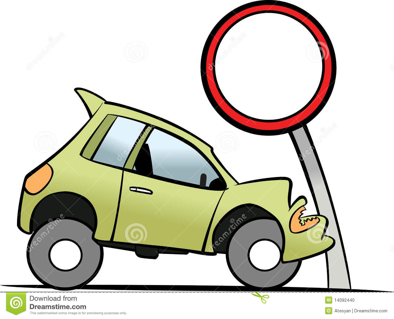Car Smashes Up A Traffic Sign Stock Photo.
