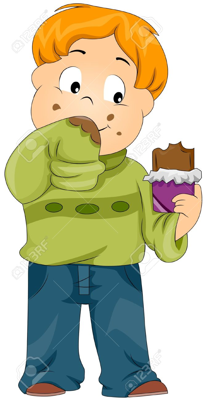 Illustration Of A Kid Smearing His Sweater With Chocolate Stock.