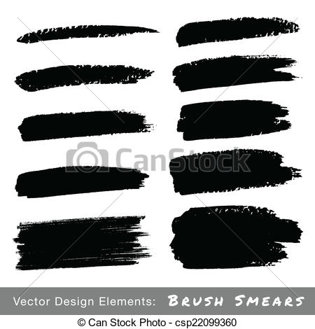 Clip Art Vector of Set of Hand Drawn Grunge Brush Smears, vector.