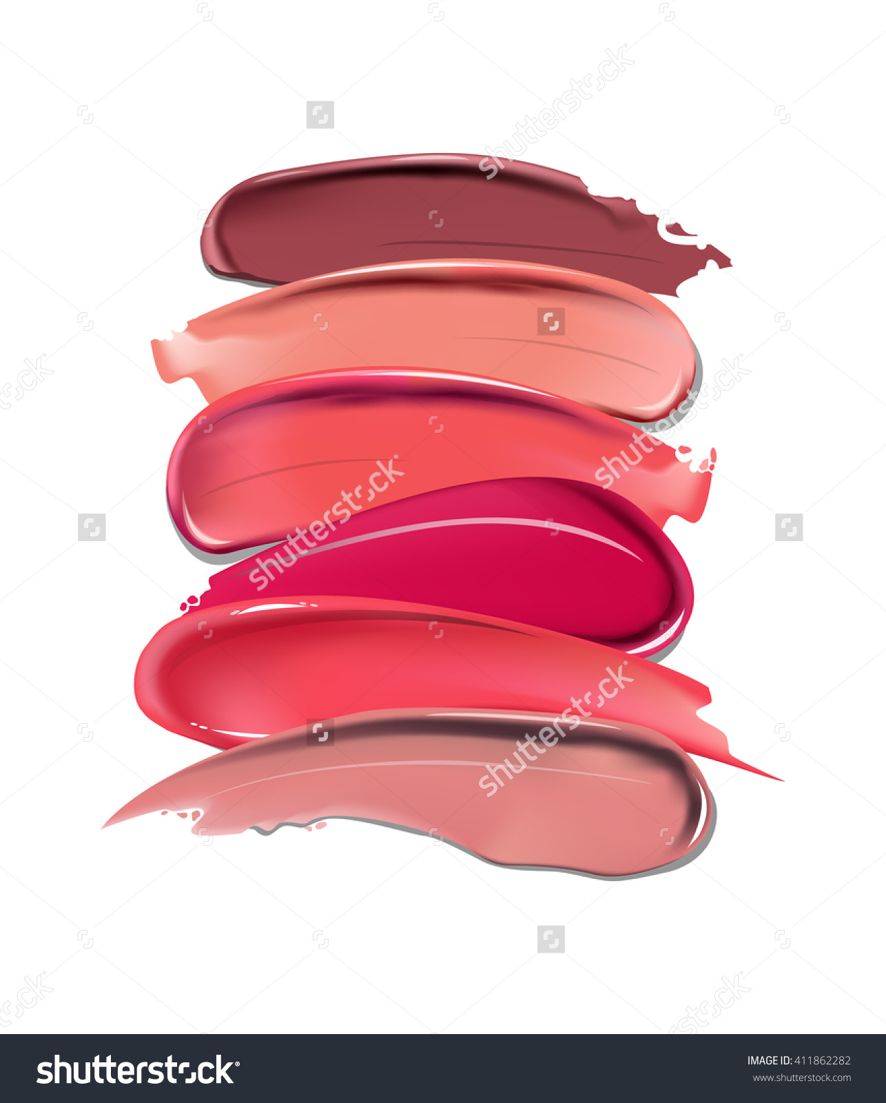 Collection Various Smears Lipstick On White Stock Vector 411862282.