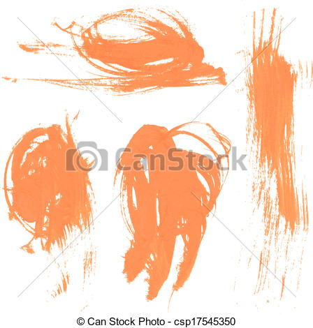 Clipart Vector of Set texture orange paint smears 2.