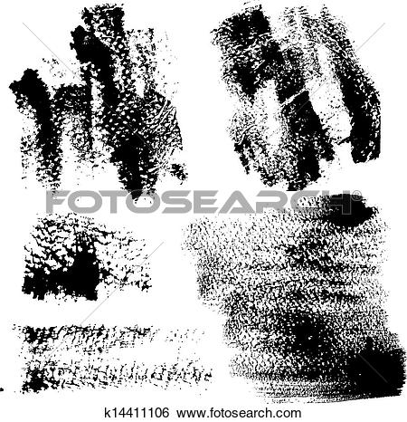 Clip Art of Smears and fingerprints with paint on textured paper.