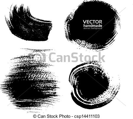 Vector Clipart of Smears and fingerprints thick black paint on.