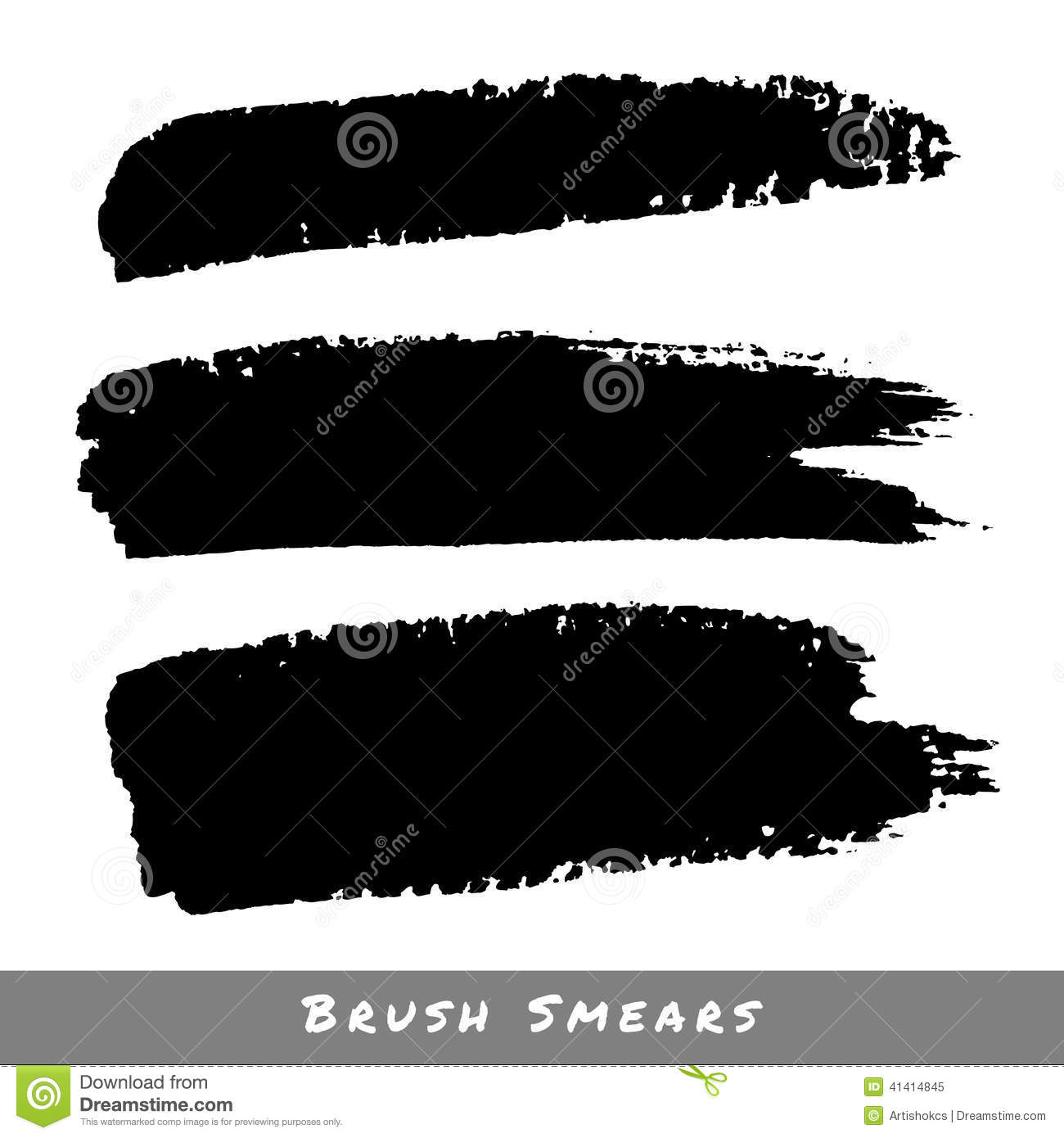 Set Of Hand Drawn Grunge Brush Smears Stock Vector.