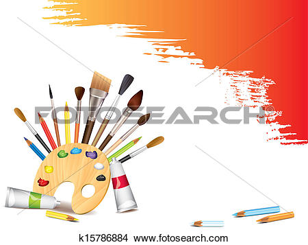 Clipart of Art tools and grunge smears k15786884.