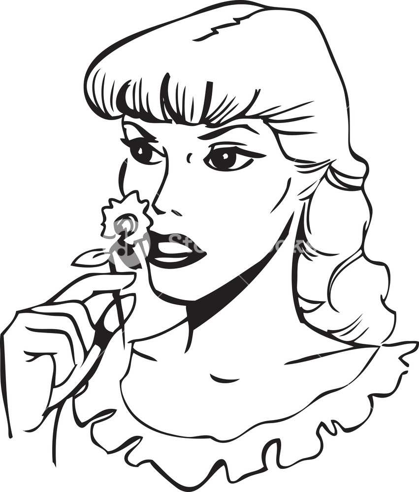 Illustration Of A Lady Smelling Flower. Royalty.