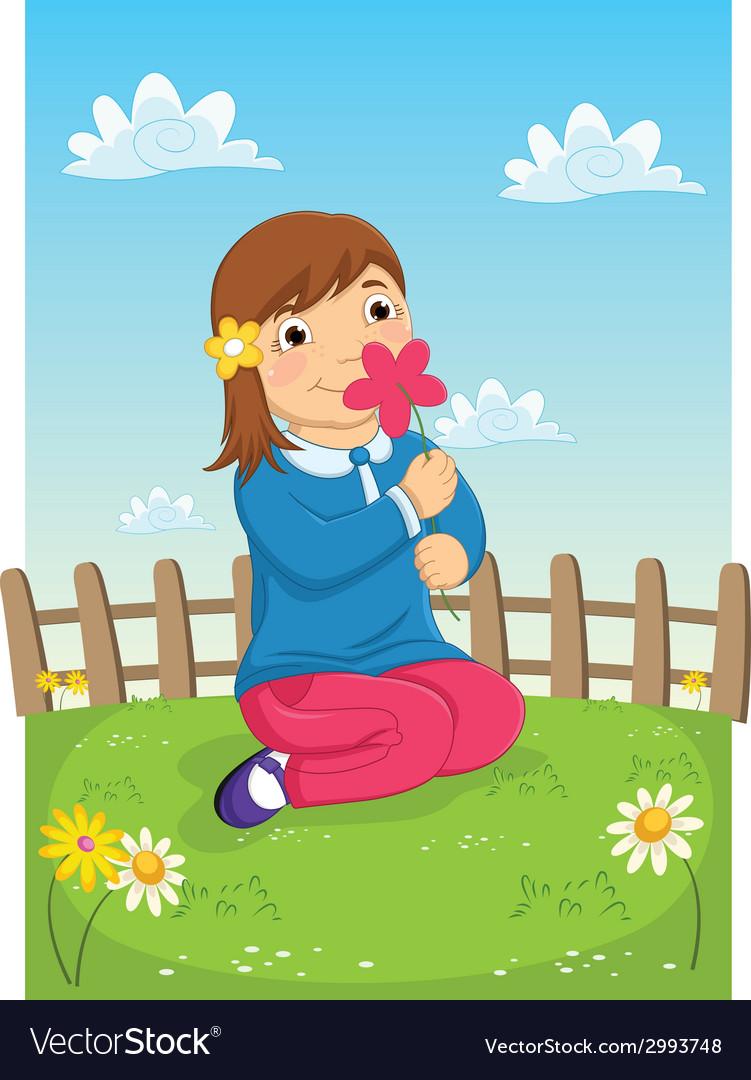 Girl Smelling Flower.