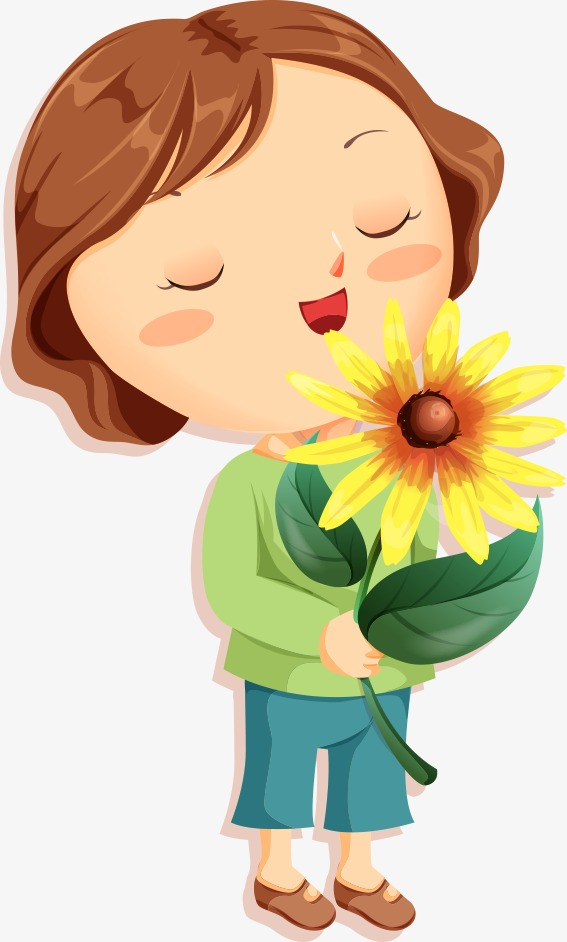 Girl Smelling Flower Png & Free Girl Smelling Flower.png.