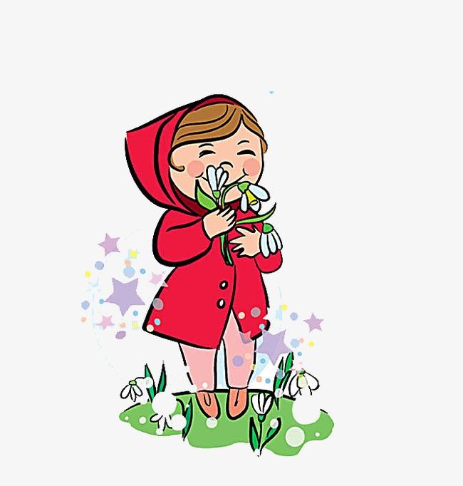 Smell The Flowers A Little Girl, Cartoon #91268.