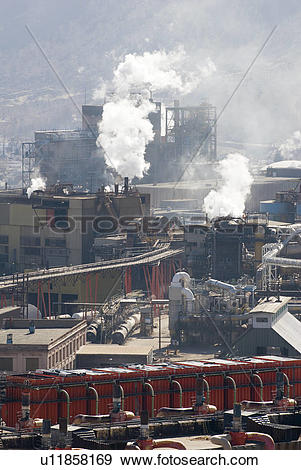 Stock Photograph of The Teck Cominco zinc and lead smelter in.