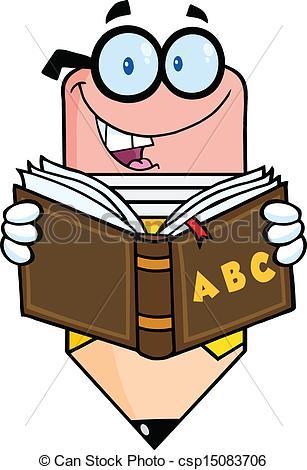 Vector Clipart of Pencil Reading A School Book.