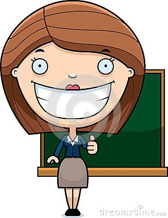Happy Cartoon Teacher Stock Vector.