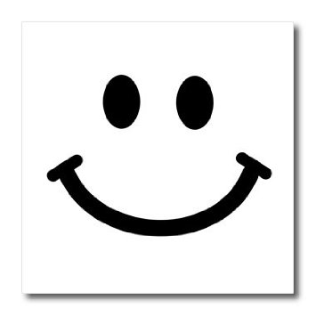 3dRose ht_113089_3 Face Square Black White Smile Happy.