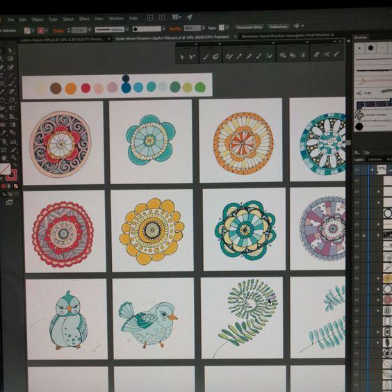 Doodle Flowers ClipArt, Boho Digital Flower Line Art, Flower Clip.