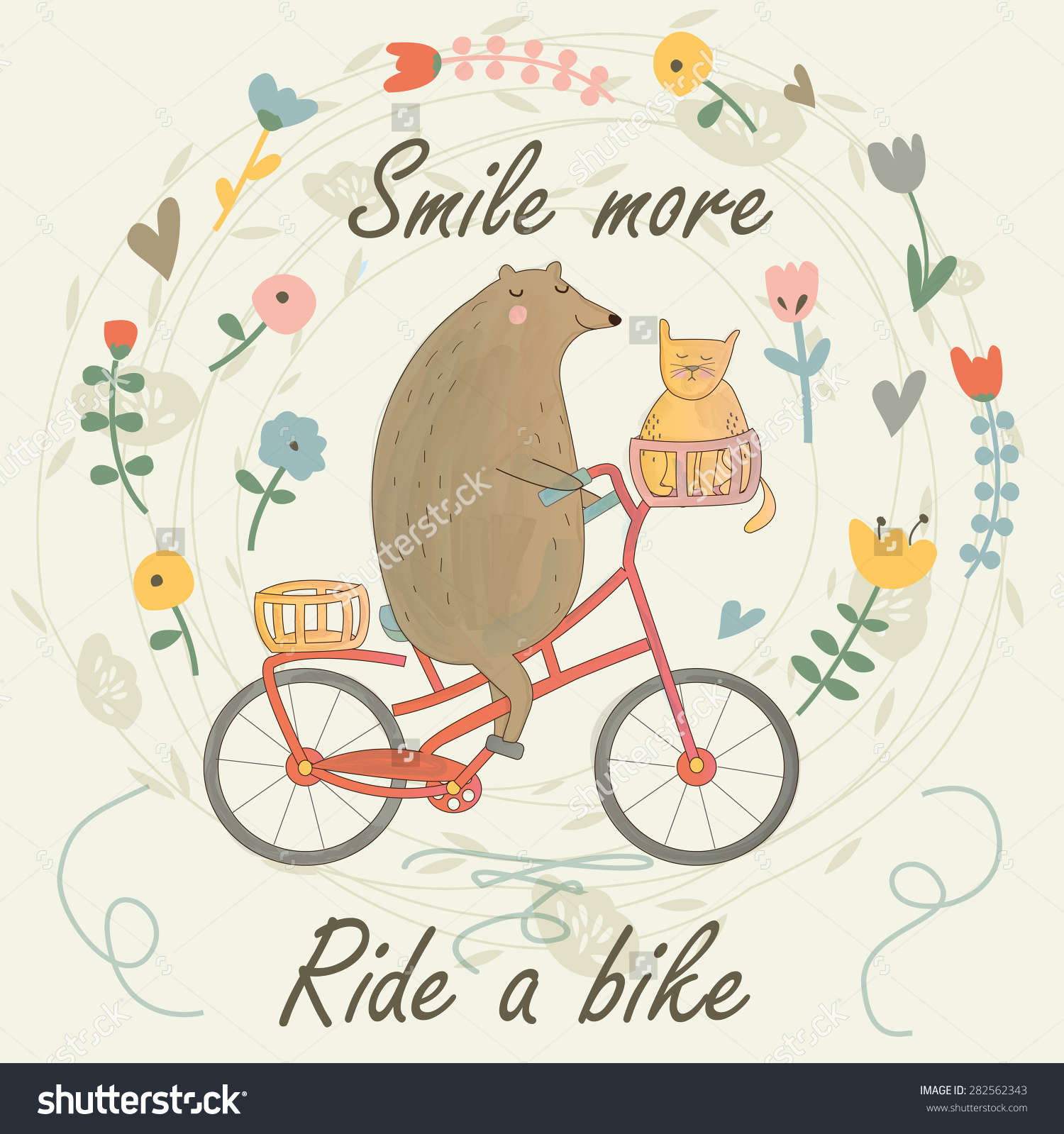 Cute Bear Riding Bike Cat Flowers Stock Vector 282562343.