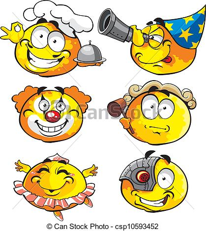 Clipart Vector of round emotion smiles 7 csp10593452.