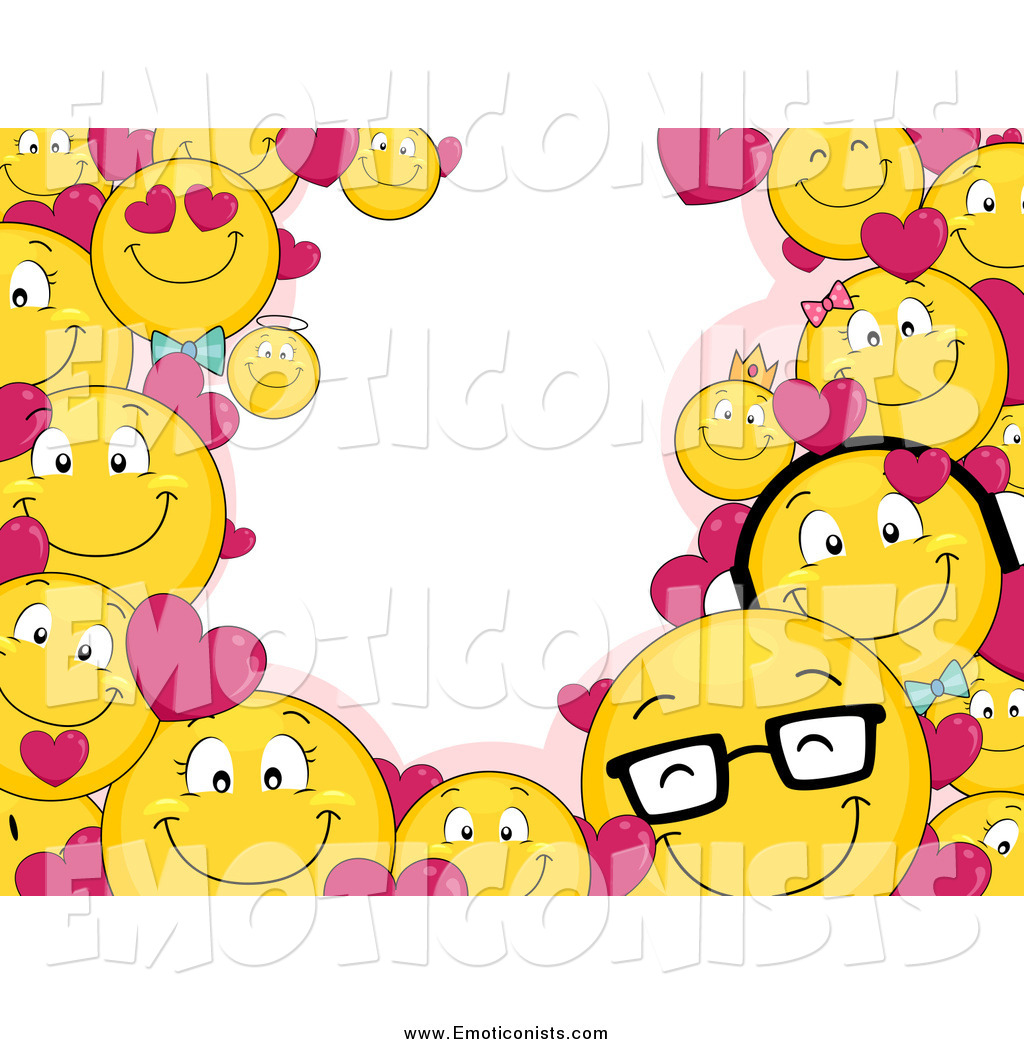 Clip Art of a Valentine Smiley Emoticon Border with Text.