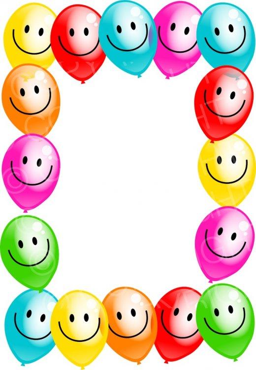Colourful Happy Smiling Face Balloon Border Design.