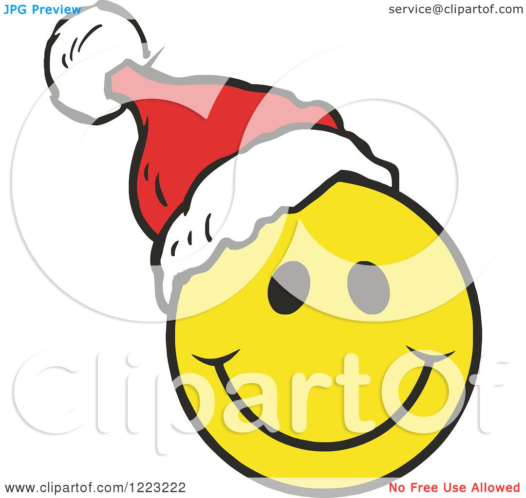 Clipart of a Happy Christmas Smiley Face Wearing a Santa Hat.