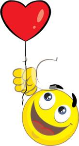 Art Image: A Smiley Face Holding a Red Heart Balloon.