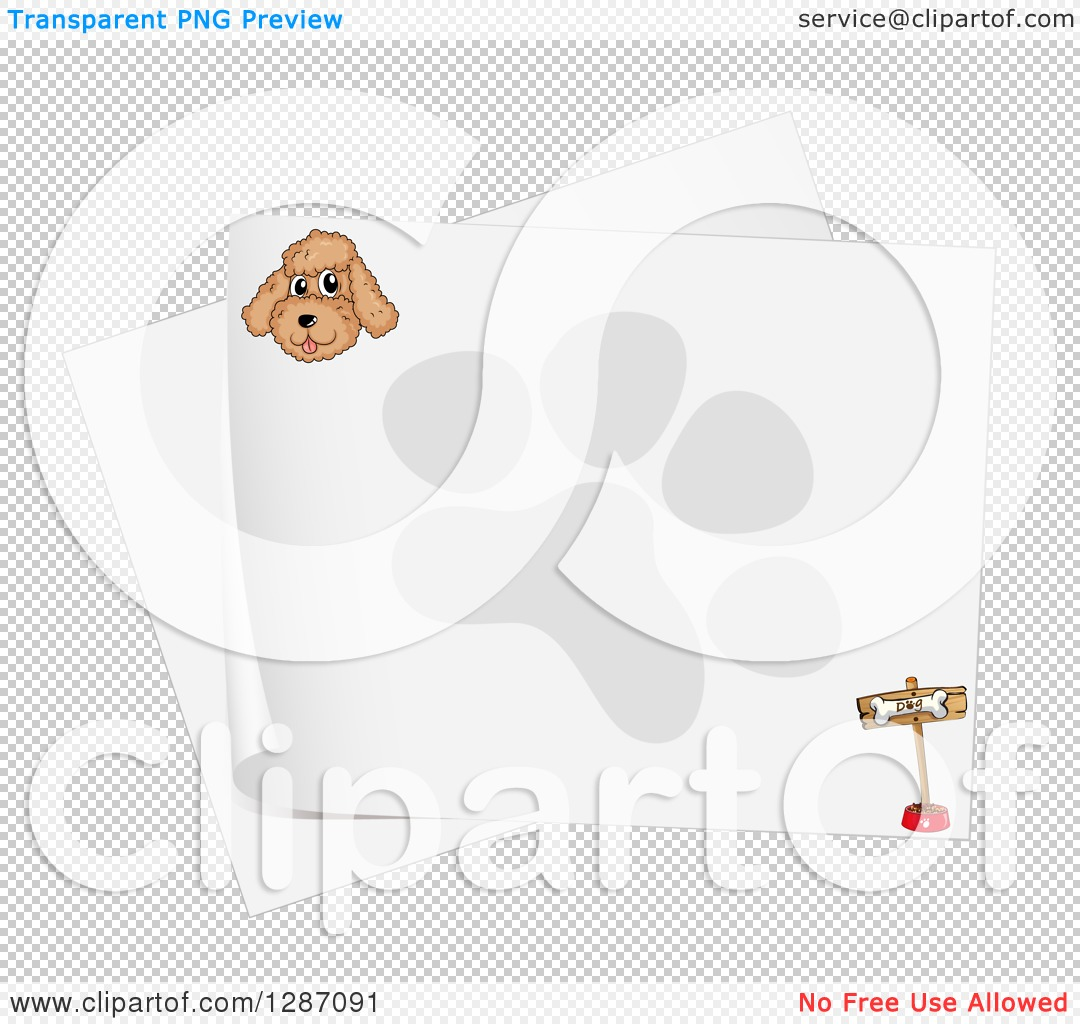 Clipart of a Happy Miniature Poodle Dog Face on a Piece of Paper.