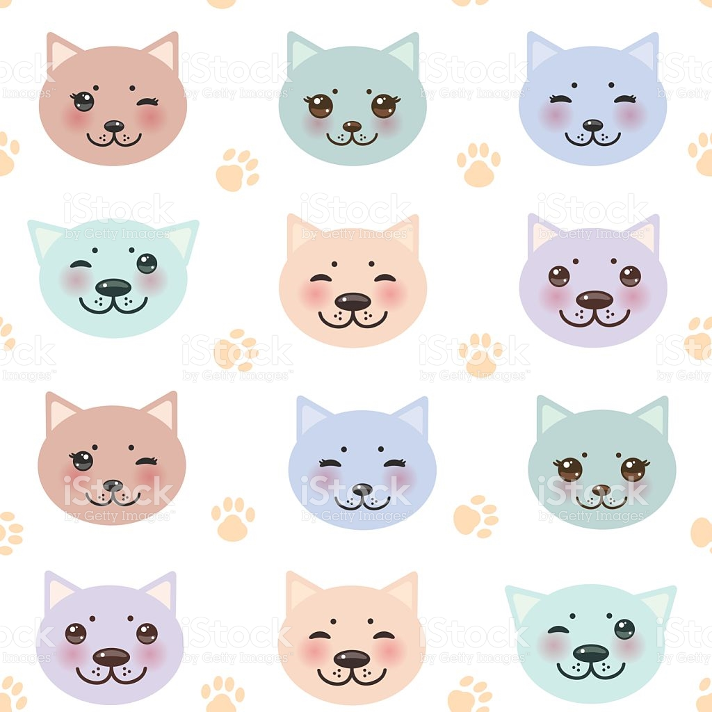 Seamless Pattern Funny Cat Muzzle And Paw Prints White Background.