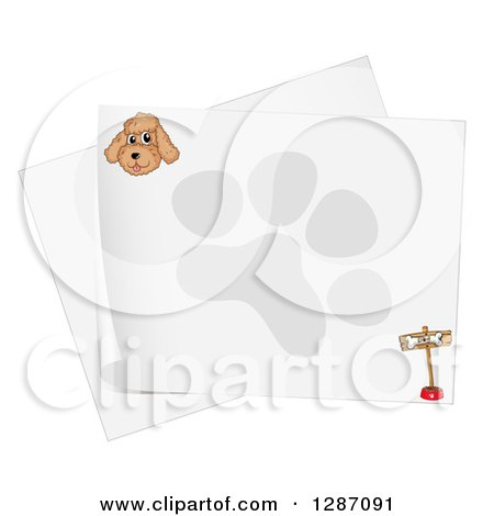 Clipart of a Happy Miniature Poodle Dog by a Pink House and Food.