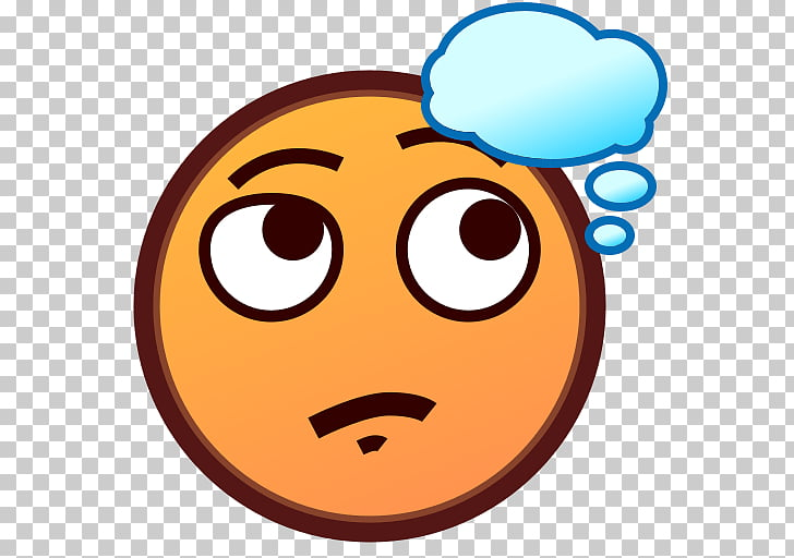 Emoji Thought Text messaging Face Smiley, Thinking PNG.