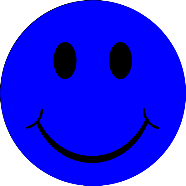 Blue Smiley Face clip art.