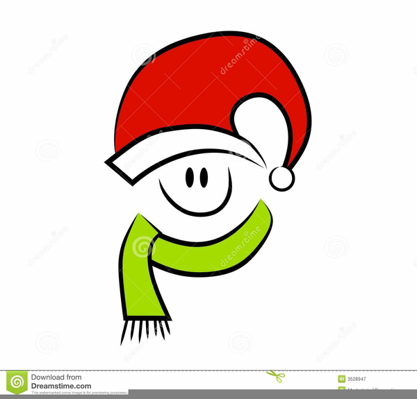 Smiley Face With Santa Hat Clipart.