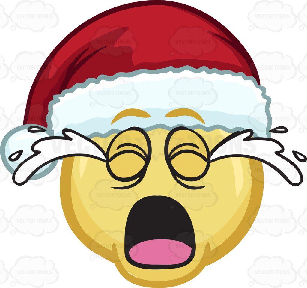 A crying emoji wearing a Santa hat #cartoon #clipart #vector.
