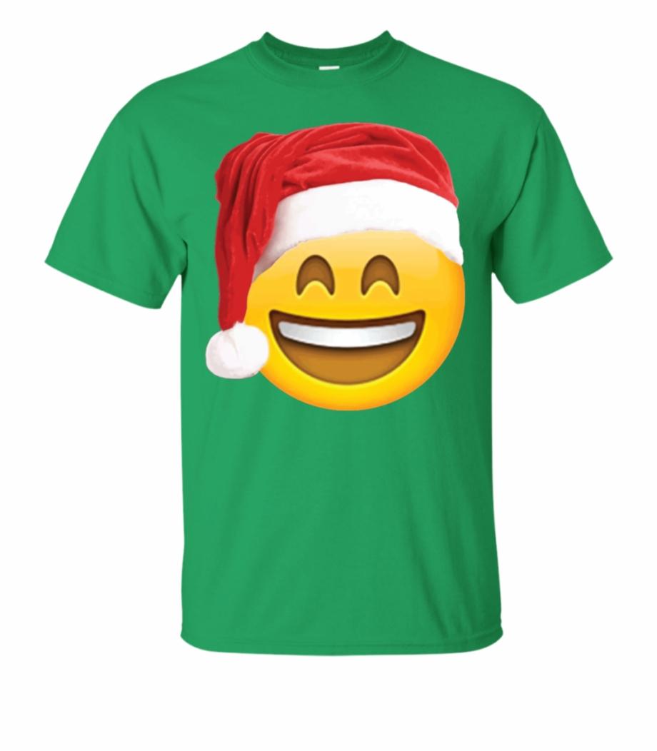 Emoji Christmas Shirt Smiley Face Santa Hat Family.