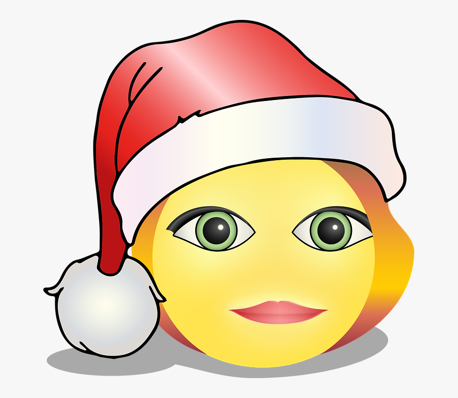 Smiley Christmas Santa Hat Redhead Laugh Smile.