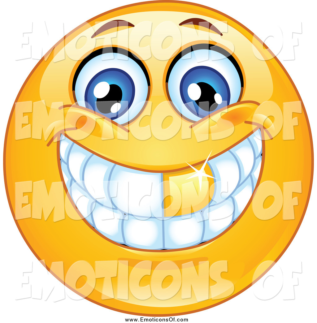 Clip Art Vector of a Grinning Emoticon with a Gold Tooth by.