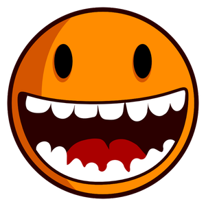 Vector clip art of happy smiley with big teeth.