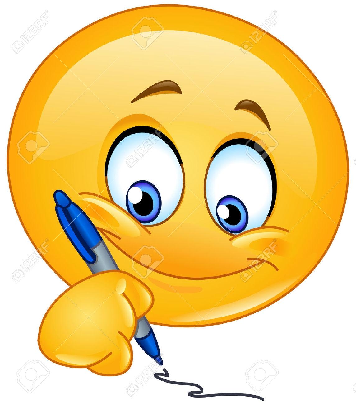 Writing Smiley Face Clip Art.