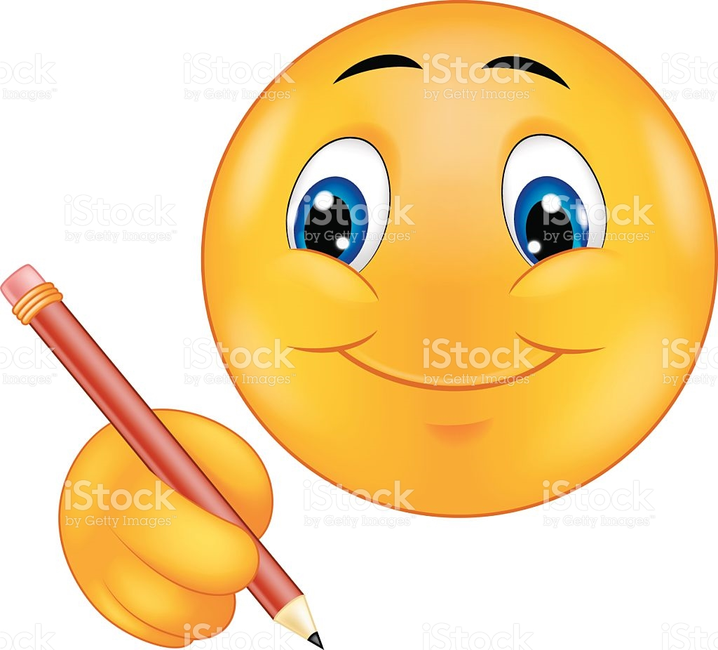 Cartoon Emoticon Writing stock vector art 468962476.