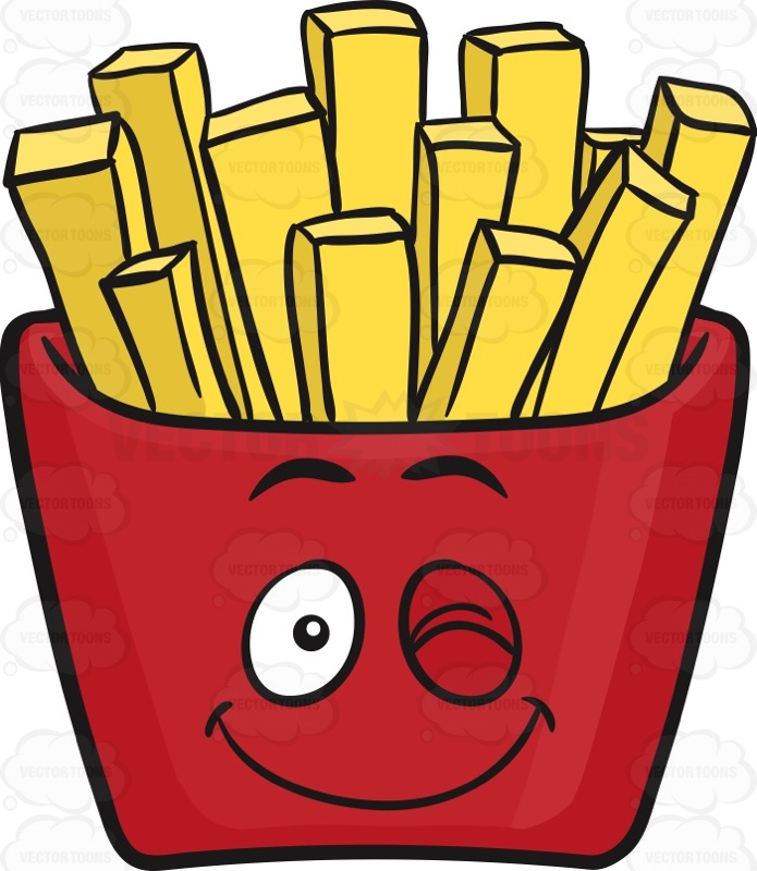 Wink & Smile Jolly Red Pack Of French Fries Emoji Cartoon Clipart.