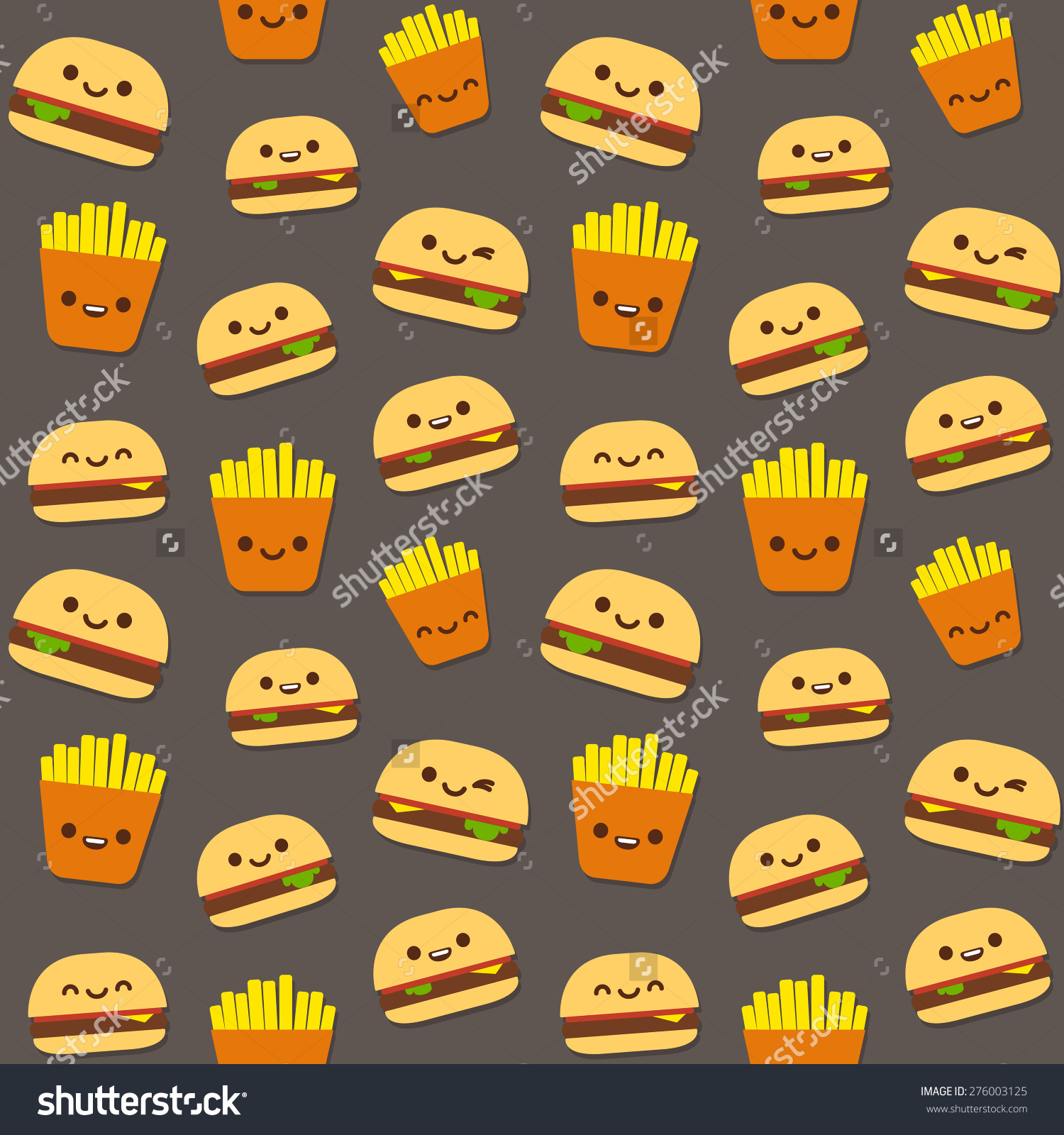 Seamless Pattern Fast Food Burgers French Stock Vector 276003125.
