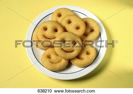 "Stock Photography of Plate of ""Smiley Face"" French Fries 638210."